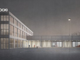 Der neue Ökihof besteht aus einem dreigeschossigen Kopfbau und einer eingeschossigen, offenen Halle.