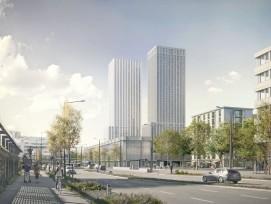 Blick auf die geplanten Hochhäuser beim neuen Fussballstadion Hardturm.