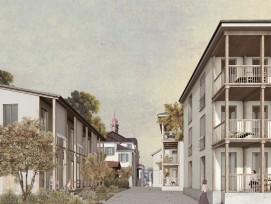 Neue Wohnhäuser säumen Sarnens Rathausgasse. Sie stehen über einer Tiefgarage. (Quelle:Christian Salewski & Simon Kretz Architekten GmbH)