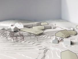 Die Visualisierung zeigt die geplanten Neubauten des Forschungsinstituts für biologischen Landbau