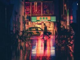 Eine Seitengasse in der japanischen Hafenstadt Osaka bei Nacht.
