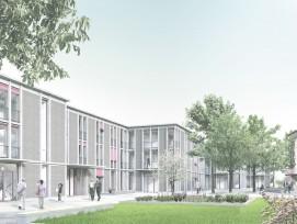 Der Erweiterungsbau ist gestaffelt angeordnet, sodass zwischen ihm und dem Patrizierhaus (rechts im Bild) ein ruhiger Garten Platz hat.