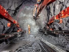 Sprengarbeiten für den neuen Albulatunnel.