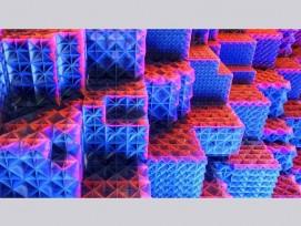 Künftige additiv hergestellte Leichtbaumaterialien werden eine Plattenstruktur aufweisen, Visualisierung.
