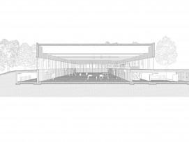 Die Schnittperspektive zeigt, dass die Halle im Untergrund von Nebenräumen umgeben ist.