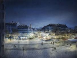 So soll der Marktplatz in St. Gallen nach Plänen des Projekts «Vadian» bei Nacht aussehen.