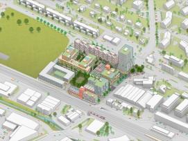 Modell des geplanten Quartiers Qube in Ebikon