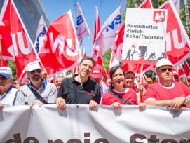 Vania Alleva (zweite von rechts) steht seit 2015 als erste Frau der Gewerkschaft Unia als alleinige Präsidentin vor.