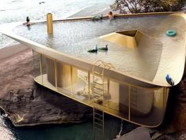 Visualisierung eines Sommerhauses mit integriertem Dach-Pool. (Quelle: anti__reality)