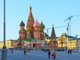 Die weltbekannte Basilius-Kathedrale in Moskau.