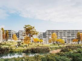 Der kompakte Haupttrakt mit den drei Aufbauten und daspavillonartige Weiterbildungsgebäude liegen am frei gelegten Stadtbach.