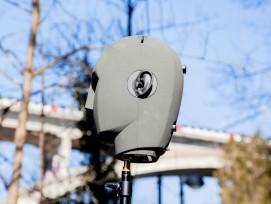 Audio-Aufnahmen mit dem Kunstkopf-Mikrofon unter der Lorrainebrücke in Bern.