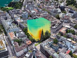 Gestapelte Heatmaps repräsentatieren das Hochhaus zur Palme in Zürich. Sie stellen das Kriterium «Aussicht ins Grüne» dar.