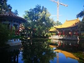 Eine Besonderheit im Chinagarten ist der zentrale Wasserpalais.