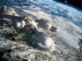 Eine der Strategien staatlicher Mondprogramme: eine ortsfeste Mondstationund der Abbau von Bodenschätzen.