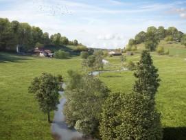 Die Fotomontage zeigt die Integration des Dammbauwerks in die Moränenlandschaft.