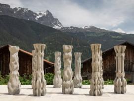 Die Säulen wurden mit einem neuen Roboter-Beton-3D-Druckverfahren der ETH Zürich hergestellt.