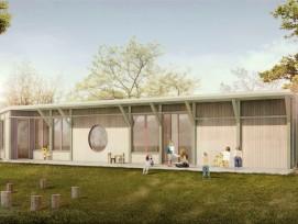 Visualisierung des Siegerprojekts «Farfalla»: So wird der Doppelkindergarten in Thun aussehen.