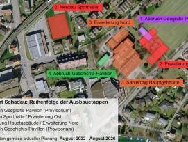 Reihenfolge der Ausbauetappen beim Standort Schadau vom Gymnasium Thun.