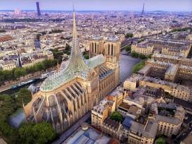 Visualisierung vonVincent Callebaut Architectures zum Wiederaufbau der Notre-Dame.