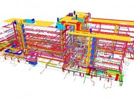 Blick ins Innenleben des Gebäudes: Die Visualisierung macht deutlich, welche komplexen Strukturen und Zusammenhänge der Gebäudetechnik zu koordinieren und für den Unterhalt zu berücksichtigen sind.