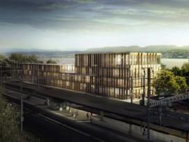 Visualisierung des Geschäftshauses «Vuelo» auf dem Areal des Bahnhofs Tiefenbrunnen in Zürich.