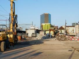 In Oerlikon war vergangenen Dienstag Spatenstich für den Bau des Franklinturms. Der Andreasturm (hinten im Bild) ist bereits fertiggestellt.