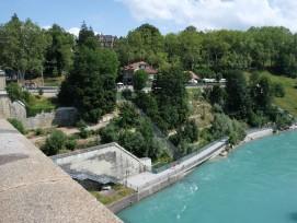 Der heutige Bärenpark am Ufer der Aare in Bern.