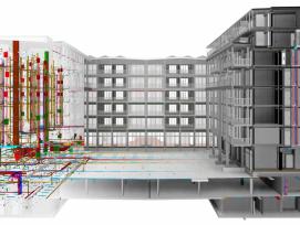 Auf dem BIM-Modell sind nicht nur alle Elemente modelliert, sondern auch die ganze Haustechnik eingezeichnet.