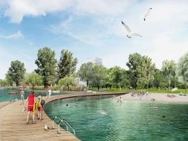 In einer ersten Bauphase wird der Grüngürtel gestaltet, der für die Öffentlichkeit zugänglich ist.
