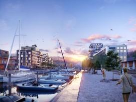 Der bestehende Barkenhafen wird landeinwärts auf das Doppelte verlängert.