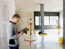 Die Totalstationen dienten beim Bau des Innovationsparks Zentralschweiz quasi als hochpräzise Baulaser: Sie übertrugen die Daten aus dem BIM-Modell auf die Wand.