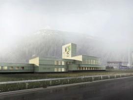 Visualisierung Verkehrsstützpunkt (VSP) Kantonspolizei Graubünden