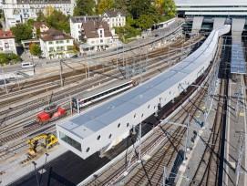 Neue Perronverlängerung am Bahnhof Bern mit der charakteristischen Stahlkonstruktion.