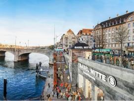 Basler Vision: S-Bahn-Haltestelle Mitte mit Ausgang an der Schifflände.
