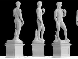 Ansichten des 3D-gedruckten Miniaturdavids.