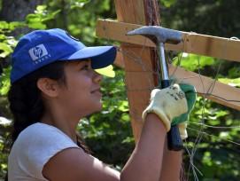 Freiwillige bei der Arbeit beim Bergwaldprojekt.
