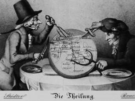 Karikatur von Ludwig Adam Kelterborn auf die Basler Kantonsteilung von 1833. Der liberale Baselbieter Bauer mit dem Schweizerkreuz am Hut nimmt sich den Löwenanteil des Käselaibs, der den damaligen Kanton Basel (siehe zweites Bild) darstellt. Die Zinken s