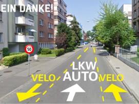 Nein danke: Auf der Dornacherstrasse hätten Velos im Gegenverkehr bei Tempo 50 fahren sollen.