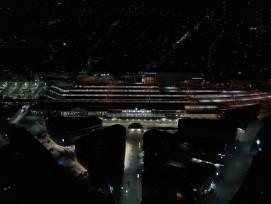 Luftaufnahme Bahnhof Chur bei Nacht