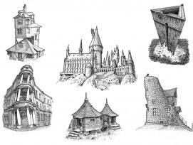 Architektur-Objekte aus den Filmen von Harry Potter