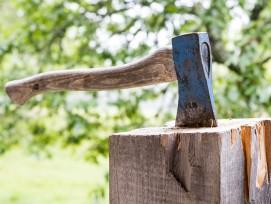 Axt auf Baumstumpf