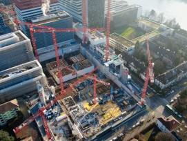 Bauarbeiten für das neue Forschungszentrum von Roche in Basel
