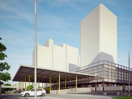 Visualisierung des Wohnhochhauses «Domus» im Quartier Liebrüti in Kaiseraugst