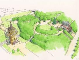 Illustration des Eingangsbereichs des Ghibli-Parks