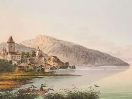 Schloss Spiez, Kolorierte Umrissradierung von Jakob Samuel Weibel.