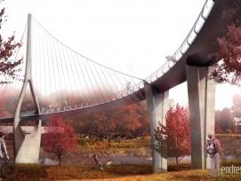 Zwei Kurven und nur ein Pylon machen die Brücke in Dublin Ohio einzigartig.