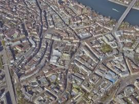 Menschenleere Innenstadt von Basel