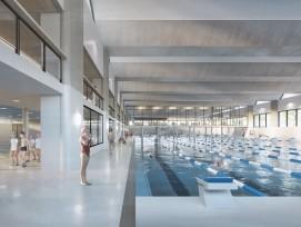 Visualisierung neue 50-Meter-Schwimmhalle im Berner Neufeld