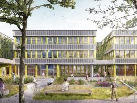Visualisierung der neuen Schulanlage in Zürich-Seebach